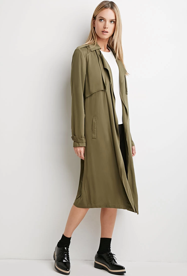 Forever 21 Life in Progress Open-Front Trench Coat