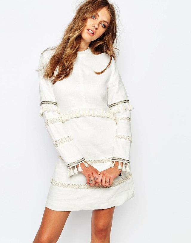 Stevie May Long sleeve High Collar Mini Dress in White