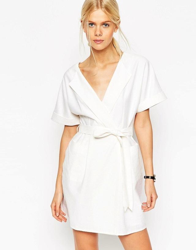 ASOS Obi Wrap Dress in Natural Fibre