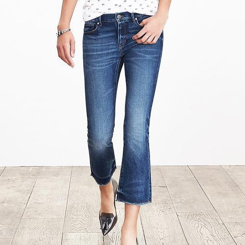Medium Wash Crop Flare Jeans