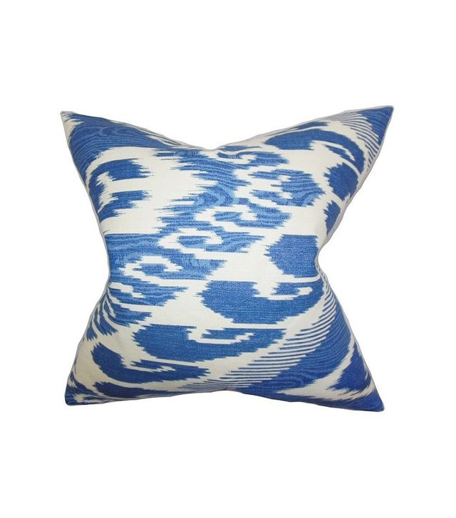 One Kings Lane Ikat Cotton Pillow in Blue