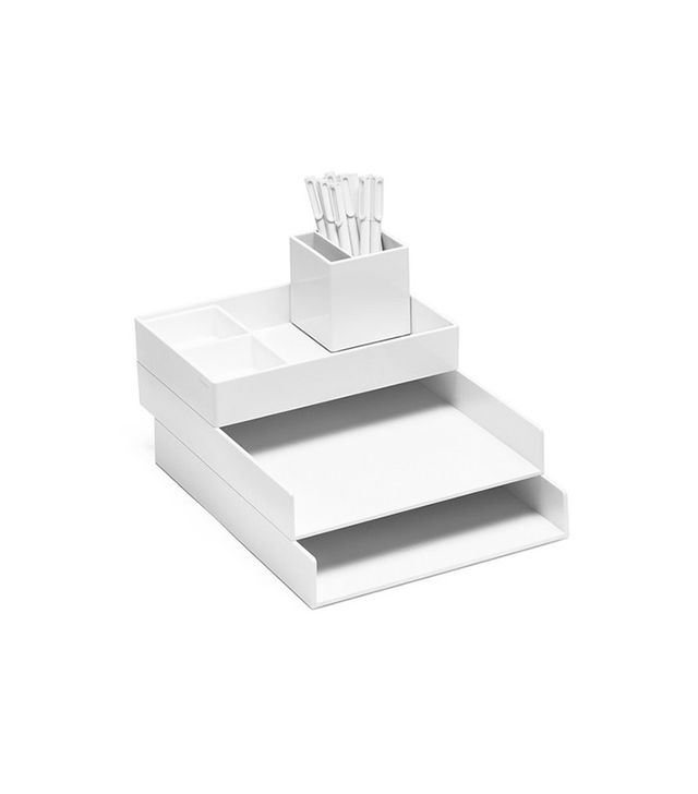 Poppin White Super Stacked Tray Set