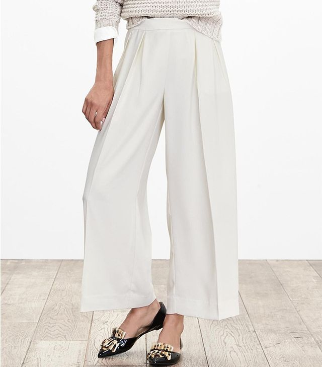 Banana Republic White Pleated Wide-Leg Crop