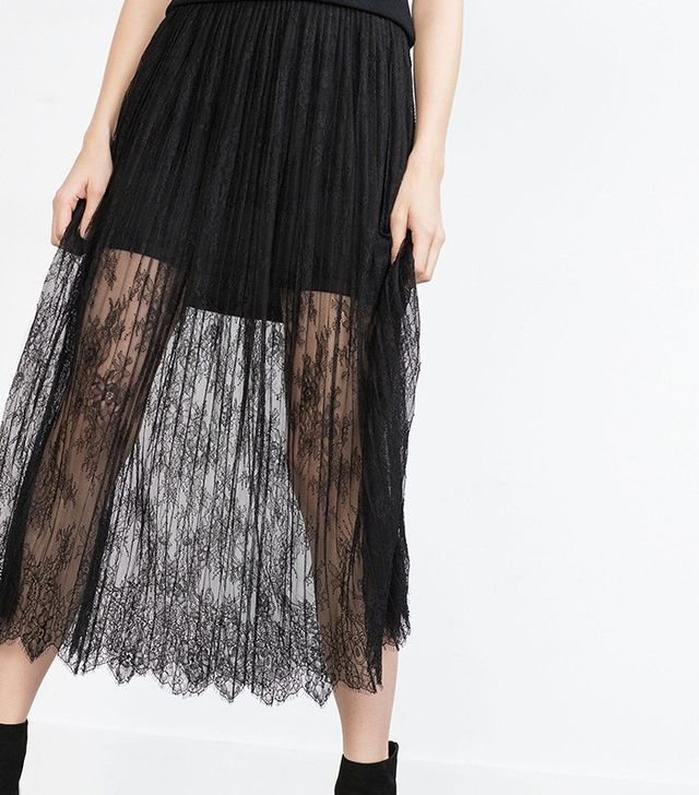 Zara Lace Pleated Skirt