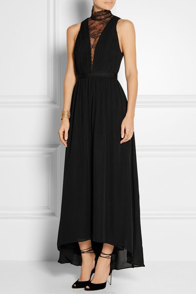 Alice and Olivia Kaden Lace-Paneled Silk-Georgette Dress