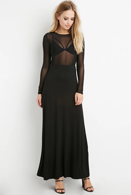 Forever 21 Mesh-Top Combo Maxi Dress