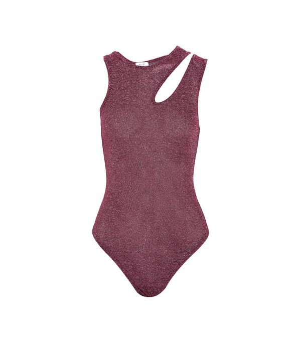 Astor Cutout Metallic Stretch-knit Bodysuit