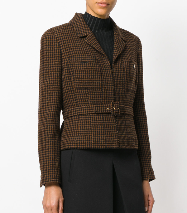 checked belted jacket