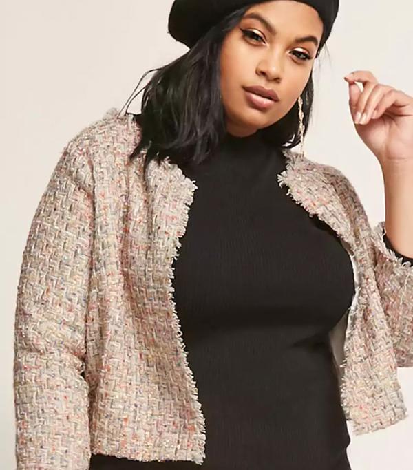 Plus Size Multicolor Tweed Jacket