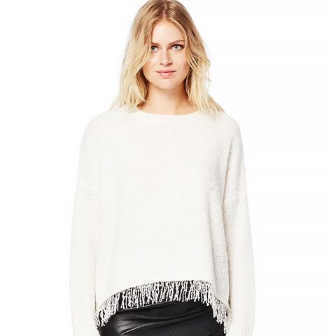 Boucle Crew Neck Sweater With Fringe