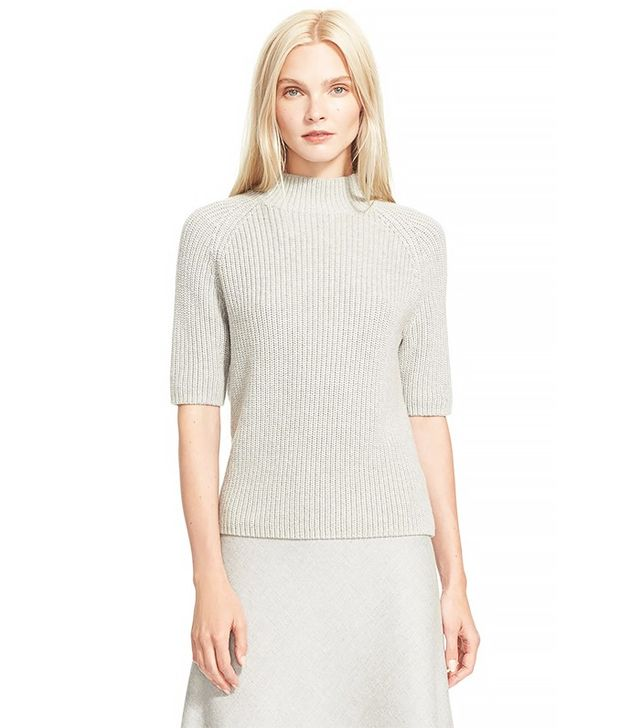 Theory Jodi Cotton and Cashmere Short Sleeve Sweater