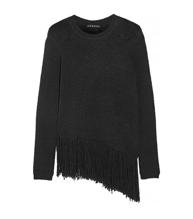 Theory Asymmetric Fringed Stretch Wool-Blend Sweater