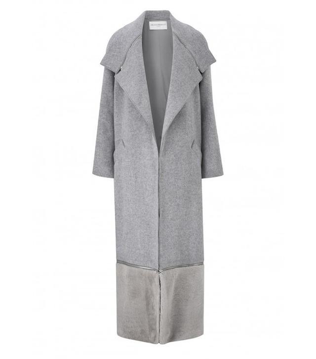 Amanda Wakeley Ito Grey Wool and Shearling Coat