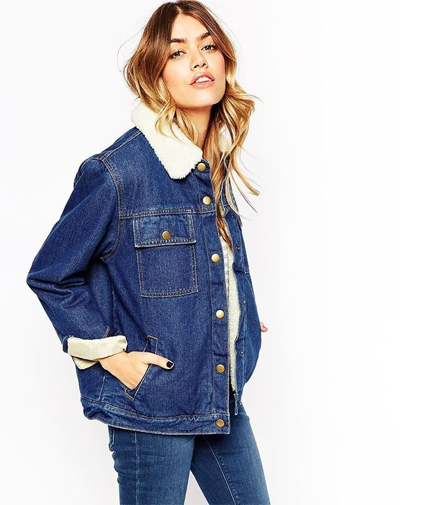 ASOS Denim Jacket With Fleece Lining and Collar
