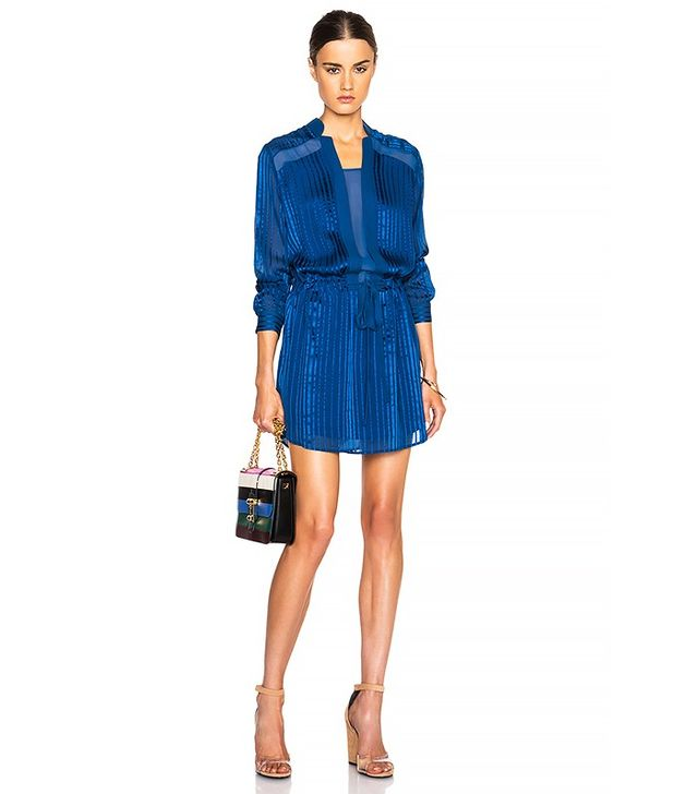 Mason by Michelle Mason Sheer Inset Shirt Dress