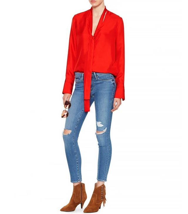 Rag & Bone Florence Tie Neck Blouse
