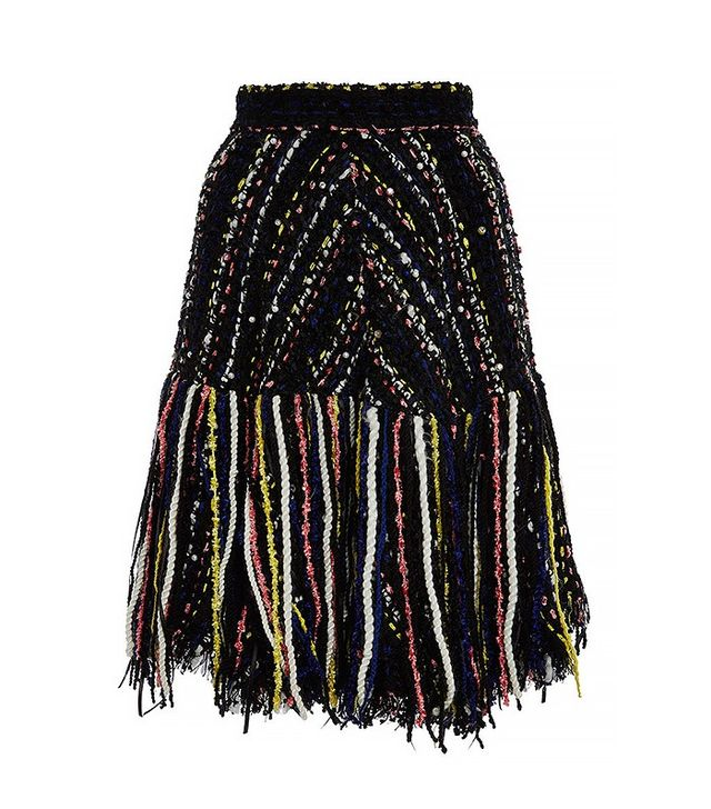 MSGM Tweed Fringed Skirt