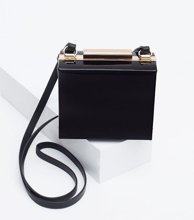 Zara Patent Finish Box Clutch