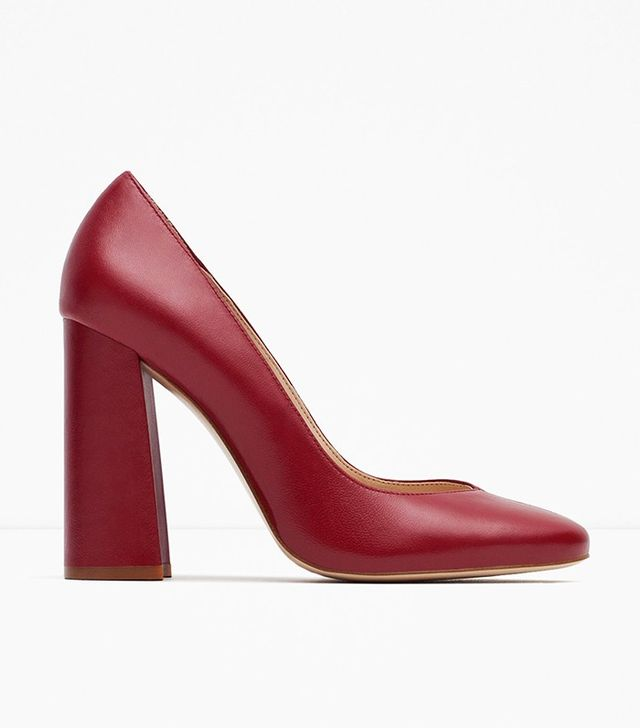 Zara Block Heel Leather High Heel Shoes