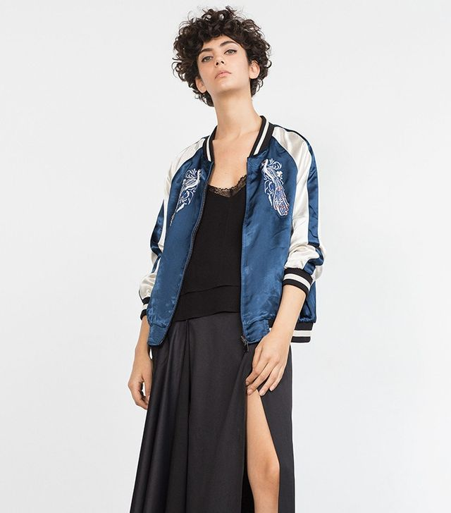 Zara Embroidered Studio Bomber Jacket