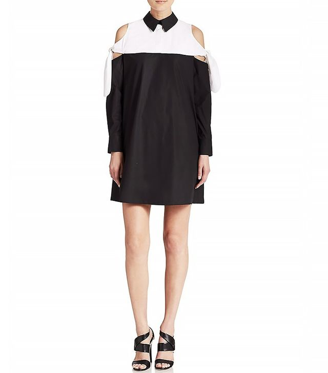 Tanya Taylor Wynn Cold-Shoulder Colorblock Dress
