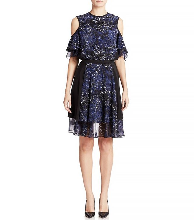 Prabal Gurung Cold-Shoulder Silk Cocktail Dress