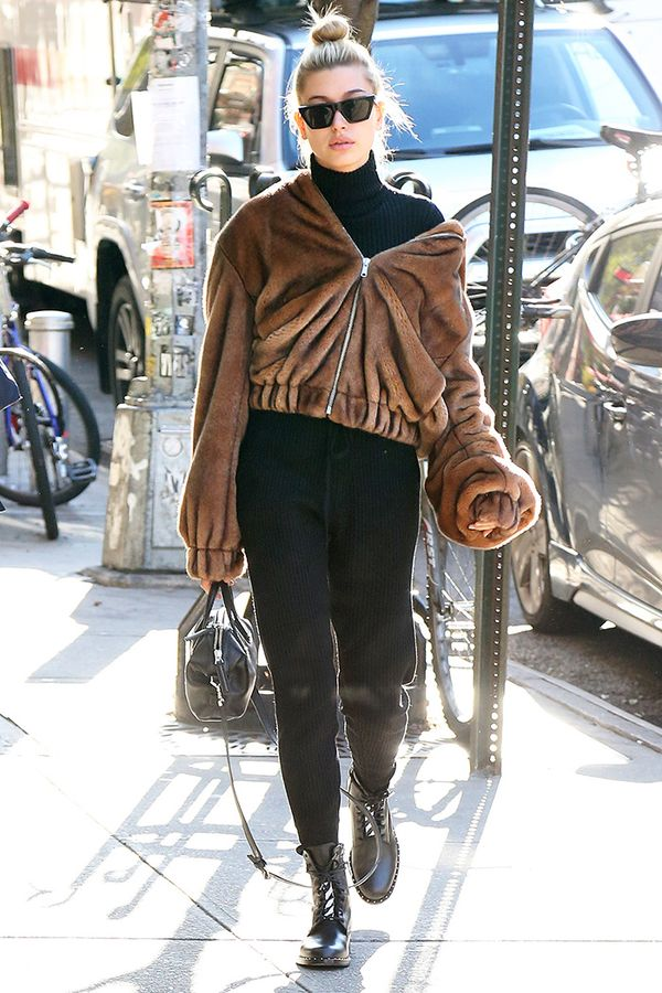 hailey baldwin fur jacket