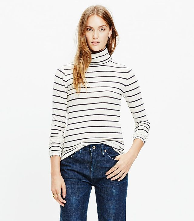 Madewell Slim Turtleneck Top in Cento Stripe