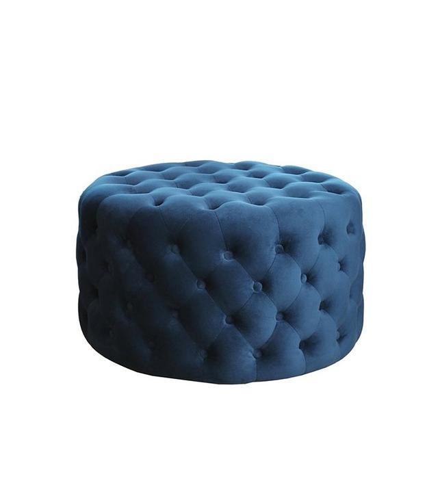 Abbyson Living Jemma Tufted Round Velvet Ottoman in Blue
