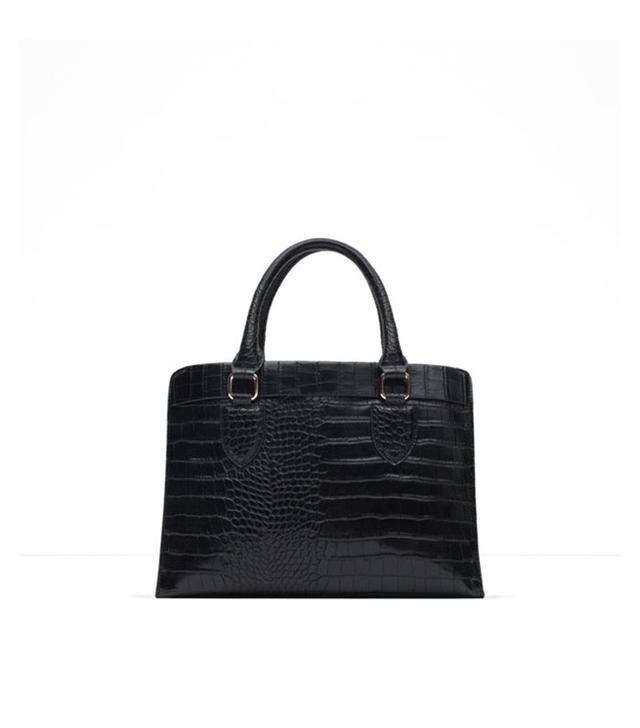 Zara Mock Croc City Bag
