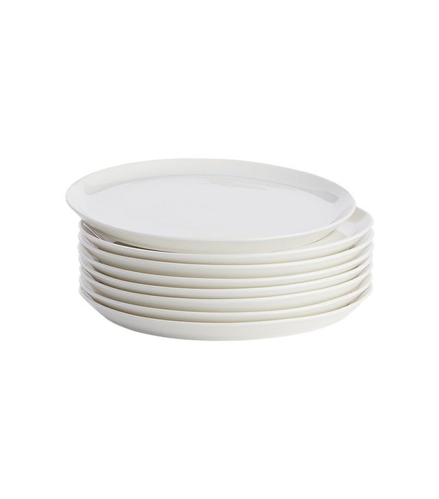 CB2 Set of 8 Contact White Dinner Plates