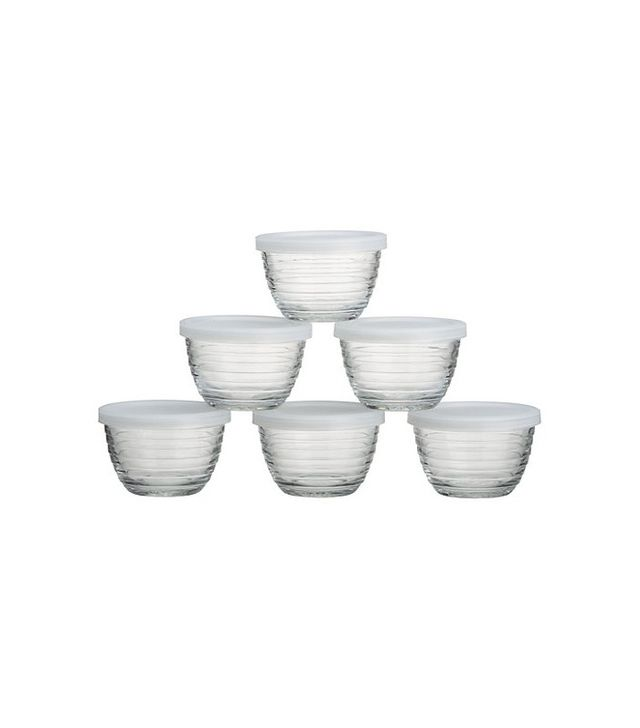 Crate and Barrel Mini Ribbed Bowl With Lid Set of Six