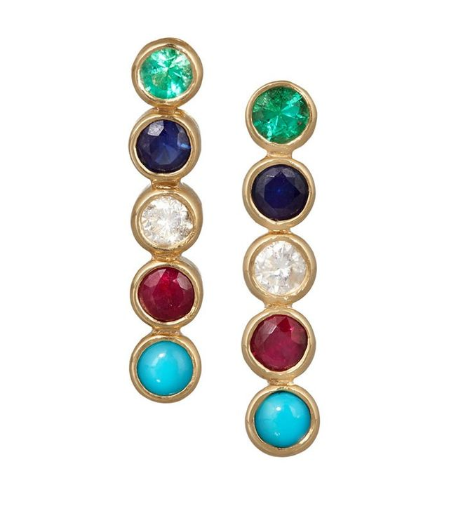 Jennifer Meyer 18-Karat Gold Multi-Stone Earrings