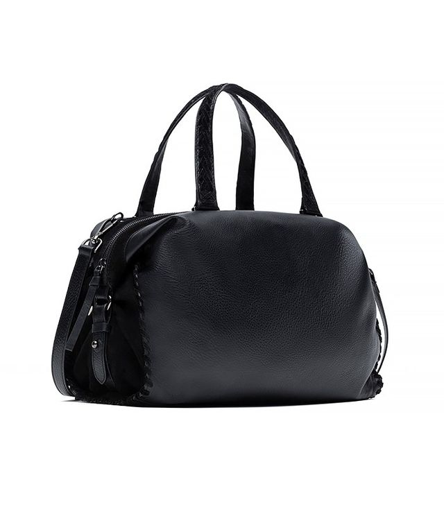 Zara Leather Bowling Bag With Woven Strap Detail