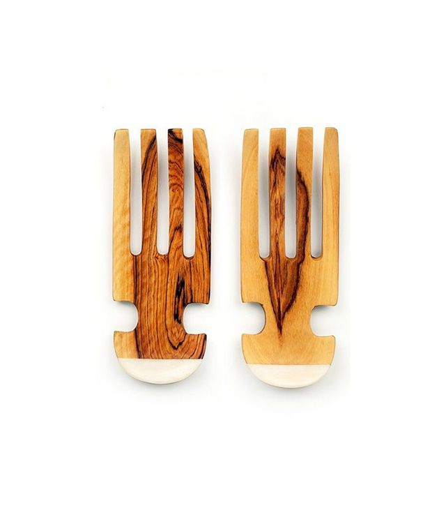 Coveted Home Curved Salad Set in Olive Wood