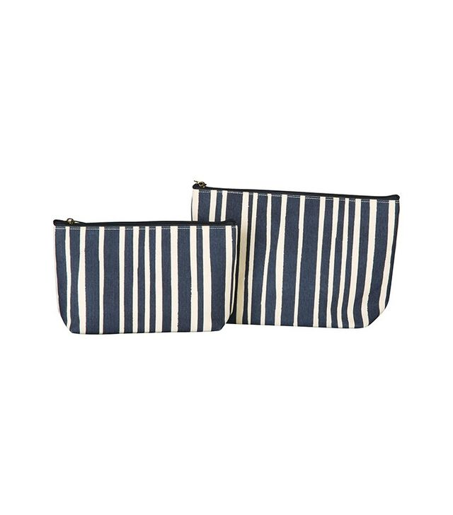 Rock Flower Paper Candice Stripe Navy Cosmetic Bag, Set of 2