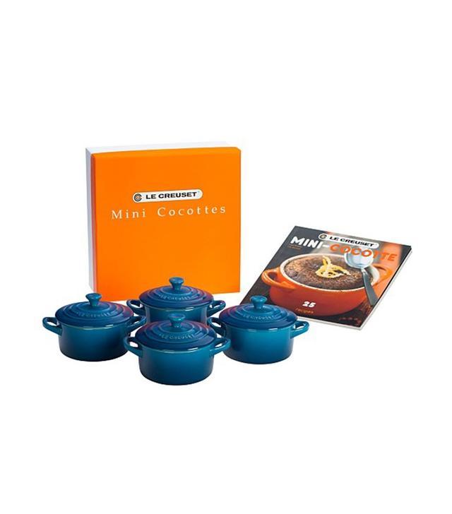 Le Creuset Set of 4 Mini Cocottes With Mini-Cocotte Cookbook