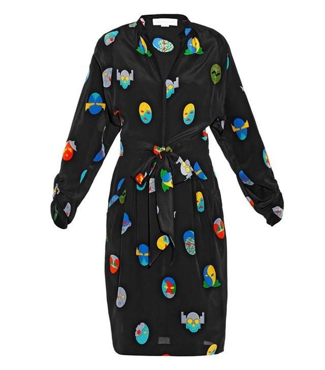 Stella McCartney Paula Superhero-Print Silk Dress
