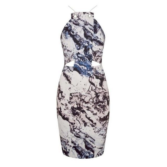 Topshop by Kendall + Kylie Printed Cut-Out Dress