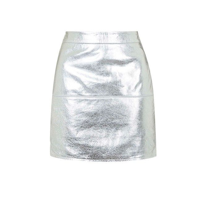 Topshop by Kendall + Kylie Metallic Silver Leather Skirt