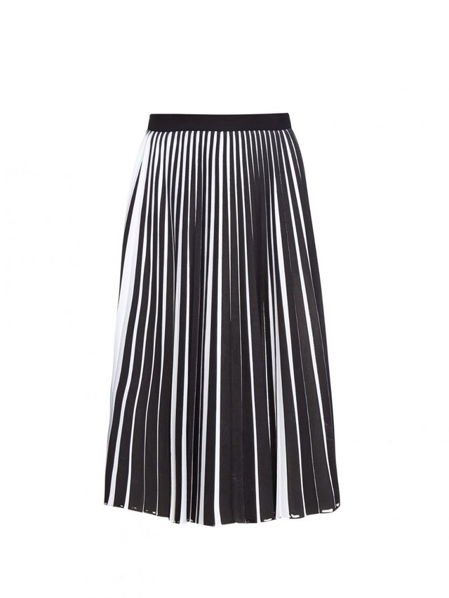 Proenza Schouler Bi-Color Stretch-Wool Pleated-Front Skirt