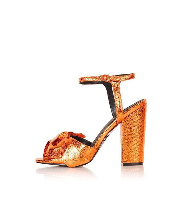 Topshop Revamp Metallic Bow Sandals