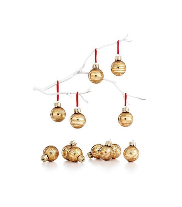 Macy's Holiday Lane Box of 12 Mini Gold Glitter Ornaments