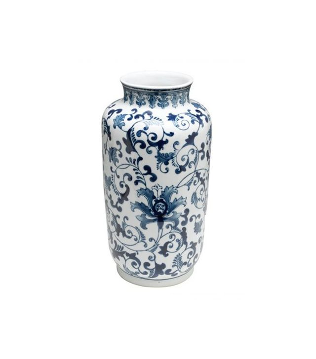 "One Kings Lane 15"" Floral Vase in Blue/White"