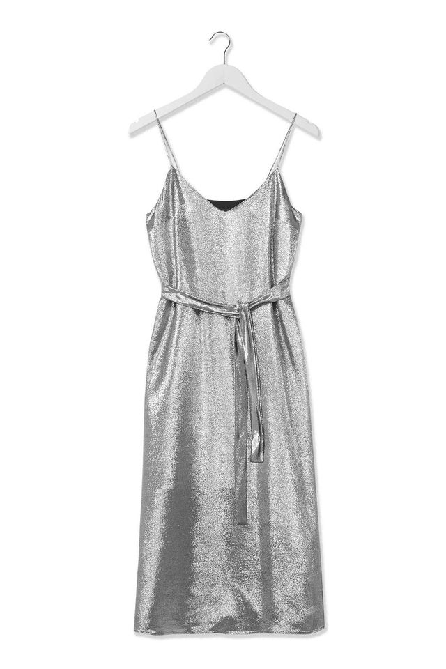Topshop Lamé Slip Dress