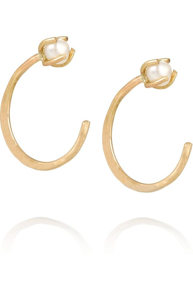 Melissa Joy Manning 14-Karat Gold Pearl Earrings