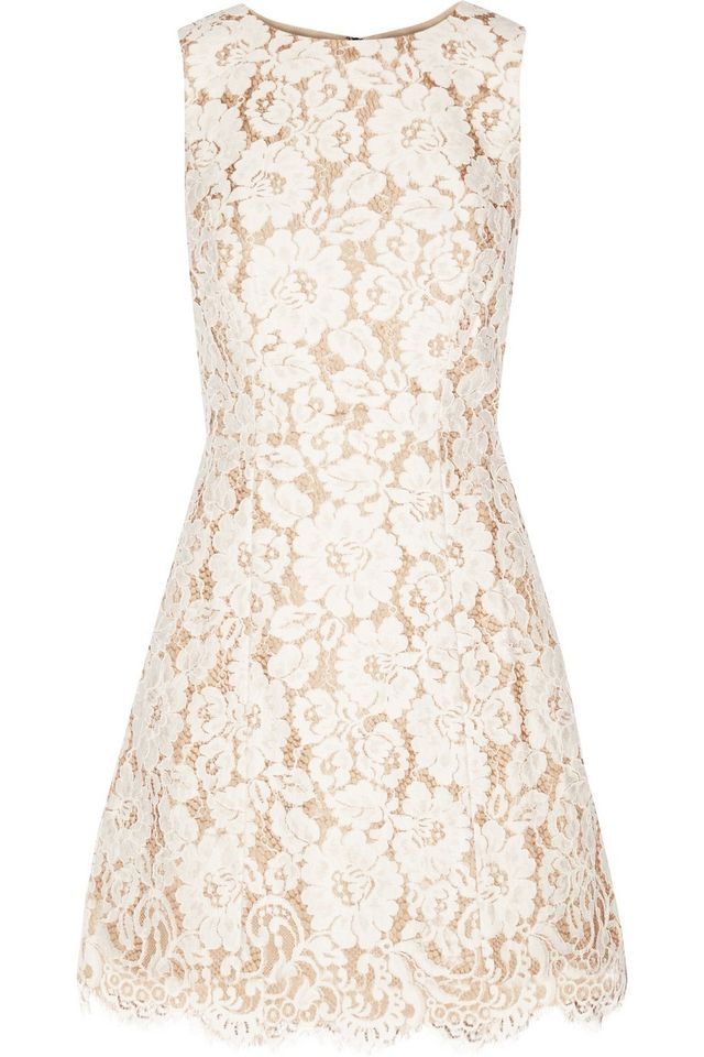 Alice and Olivia Leann Cotton-Blend Guipure Lace Mini Dress