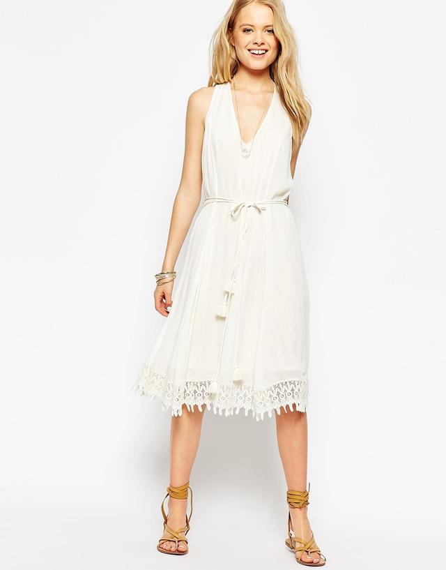 ASOS Midi Dress with Crochet Hem