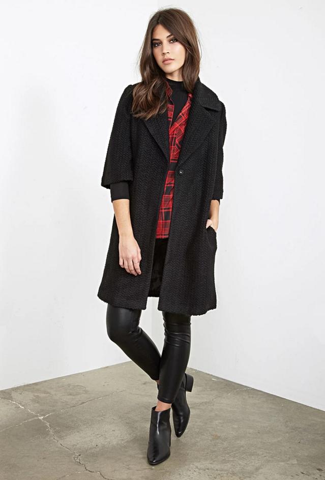 Forever 21 Textured Wool-Blend Overcoat