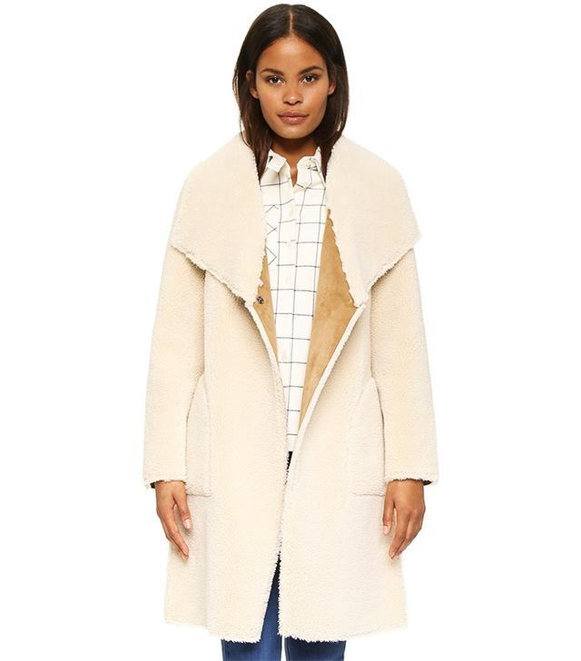 Velvet Drape Front Shearling Jacket